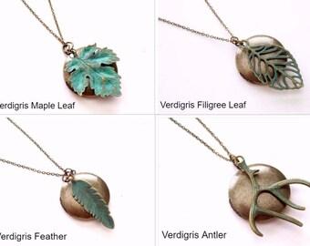 Antiqued Brass Locket, Verdigris Pendant Necklace, Boho Unisex Locket, Rustic Locket Necklace, Verdigris Feather, Verdigris Leaf Locket