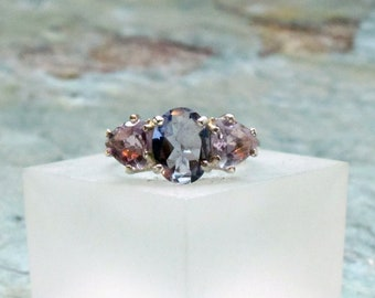Unusual Blue Purple Iolite Oval with Rose Amethyst Trilliants ~ 3-stone Faceted Gemstone Ring ~ Sterling Silver Statement Ring - Size 6