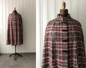 PLAID WOOL CAPE 1970s Sort of Psychedelic Black and Red Cloak with Arm Slits and Faux Horn Toggle Buttons Stand up Collar Lined