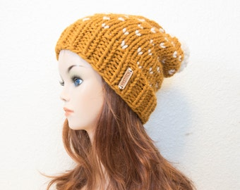 Knit Hat, Knit Hat Women, Knit Chunky Fair Isle Pom Pom Slouchy Hat / Copper Mountain / Butterscotch and White / READY TO SHIP