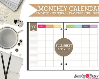 Undated Two Page Monthly Calendar Planner - Colorful Monthly Calendar - 2016 Two Page Months Teacher Calendar Planner- INSTANT DOWNLOAD