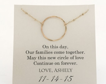 Mother of The Groom Necklace, Mother of the Groom Gifts, Family Circle, Wedding Gifts,  Wedding Jewelry, Mother of the Groom Presents - Gold