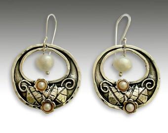 Botanical Earrings, sterling silver earrings, pearl earrings, gold silver earrings, floral earrings, botanical - Hanging gardens - E2155G