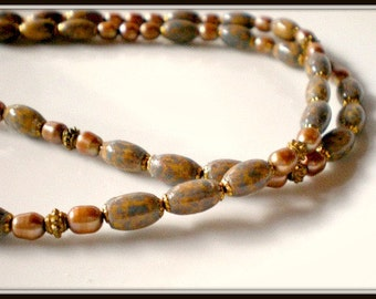 Necklace, Copper Colored Fresh Water Pearls, Blue/Brown Hand Painted Wood Beads