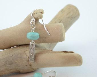 Sea Green and Silver Lampwork Earrings