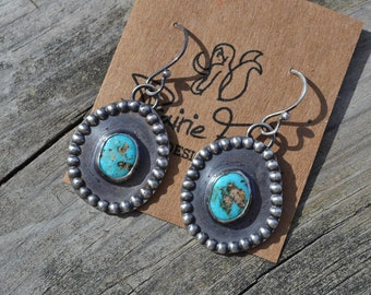 Turquoise Earrings Hand Fabricated Sterling Silver Vintage Cut Amberican Turquoise
