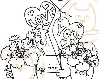 Digi Stamp Instant Download. Geranium Love - Knitty Kitty Digis No. 20