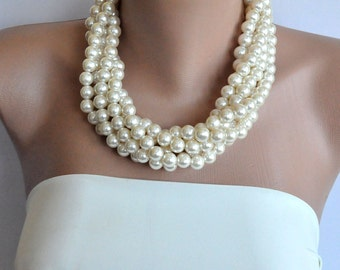 5 Chunky Bridal pearl necklaces, statement wedding necklace ,Layered Bridal Necklace, jewelry, bridesmaid jewelry