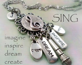 Singer Necklace w-Letter Charm of Your Choice, Birthday Gift, Singer Gift, I Love to Sing! DJ, Dream Inspire Create Imagine, Singer Gift