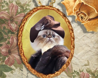 Himalayan Cat Jewelry Pendant Necklace - Brooch Handcrafted Ceramic