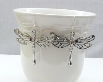 nd-Silver Dragonfly Dangle Earrings