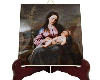 Catholic art - Virgin and Child icon - catholic icon on ceramic tile - Madonna and Child - Alonso Cano - religious gift idea - devotional