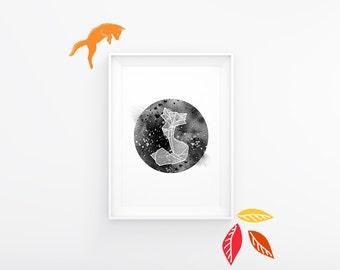"Geometric origami fox printable poster 8x10"". Modern minimalist chic design."
