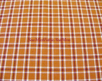 Cinnamon Pumpkin Color Homespun Plaid Fabric~by the 1/2 yard or yard~cotton~primitives~crafts~quilting