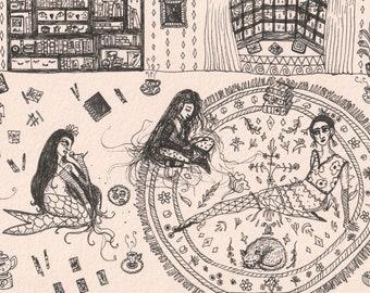 Bedroom Floor Tea Dates, series of two original drawings