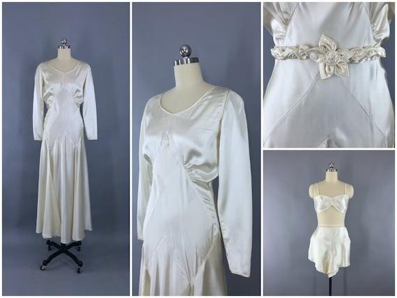 Vintage 1930s Wedding Dress / 30s Bias Cut Dress / 1920s Art
