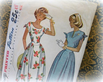vintage simplicity dress pattern 2438 truly teen style size 14 side front gathered skirt bow knots at shoulder