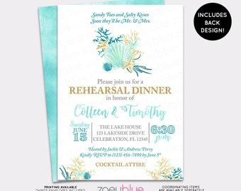 JUNE SALE Beach Rehearsal Dinner Invitation - Seashell Wedding Shower Invite - Sea Mermaid Bridal Invitation - Watercolor Aqua Teal & Gold R