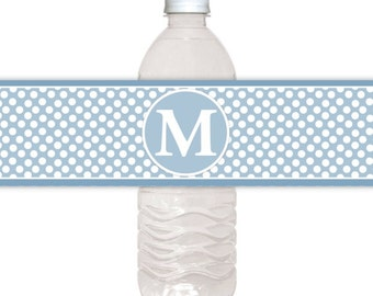 Monogram Water Bottle Labels, CUSTOM Printable Dots and Monogram, you print, you cut, DIY water bottle labels
