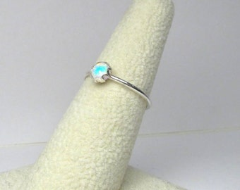 Sterling Silver Opal Stacking Ring Thin Stackable Ring Made to Order