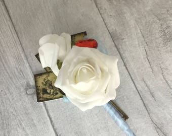Alice in Wonderland  Buttonhole, Alice in Wonderland Wedding, White Roses,  Queen of Hearts, Keys and Clocks, Alice Buttonhole