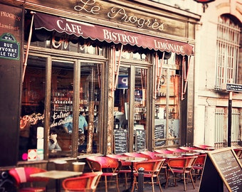 Paris Photograph, Le Progres Cafe, Parisian Bistro Wall Art Print - Travel Photography, Montmartre France , French Home Decor, red, beige