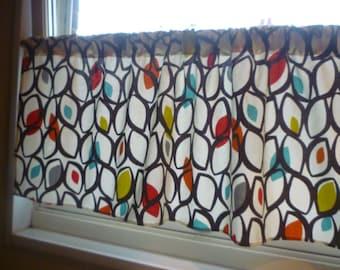 "54 x 30"" Retro Orange Curtain Panel Valance Bathroom Kitchen Curtain Rod Pocket Ruched or Flat 100% Cotton"
