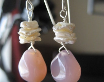 Layla...Keishi Pearl and Chalcedony Earrings...FREE SHIPPING