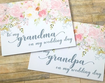 to my grandma on my wedding day - card for grandma and grandpa - wedding day card for nana - blush - card for grandparents - GARDEN ROMANCE