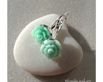 """Lever back earrings Silver """"little rose"""" pastel sea green"""