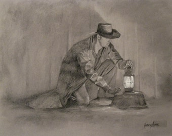Original Charcoal Drawing: A Light in the Dark