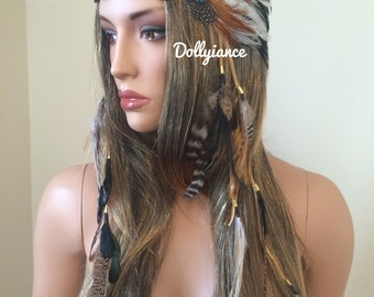 Beaded Indian Feather Headdress, Feather Crown, Native Crown, Feather Headband