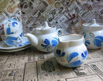 Russian porcelaine set tea kettle, teapot, cup and saucers Made in USSR
