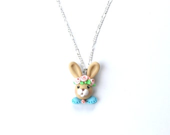 Easter Bunny with Coral Roses Necklace