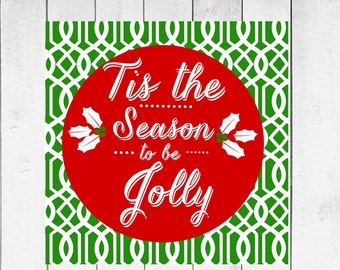 Christmas Decor -  Tis the Season on Lattice Background  CANVAS Christmas Special
