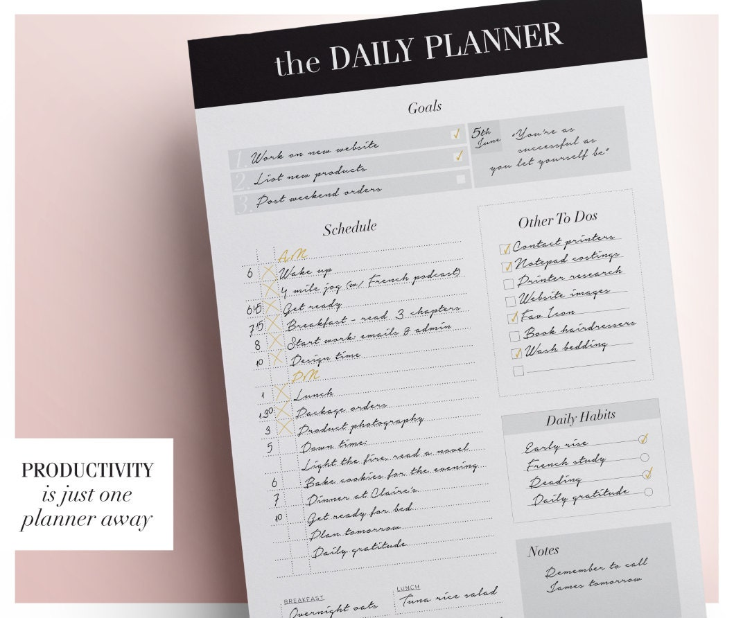 Day Planner Daily Schedule Planner Daily Planner Printable
