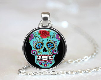 Sugar Skull Necklace Glass Tile Necklace Day of the Dead Necklace Pink Jewelry Glass Tile Jewelry Silver Jewelry Black Jewelry Blue Necklace