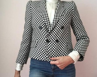 ZARA Black & White Checkered Cropped Fitted Blazer/Size XS/Perfect pre-owned condition