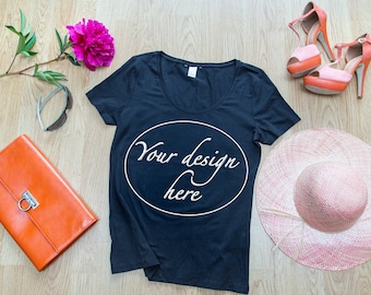 T-shirt mockup digital download, ladies shirt stock photo, flatly fashion styled mockup, women black t-shirt mockup digital download