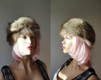 Silver Fox Fur Vintage Hat // Size 56/57