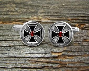 Steampunk Cross Red Ruby Black Silver Silver or Gold Cufflinks-Wedding-Jewelry Box-Silver-Keepsake-Gift-Man gift-Graduation-Men-Science-Geek
