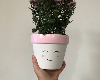 Cute smiley planter and dish // indoor // utensil holder // flower pot // Pencil Pot // Desk accessory