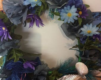 Wreath hand made blue with shells 1040