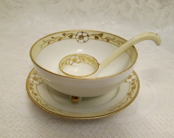 Hand Painted Nippon Gold Rose Mayo Bowl with Under Plate and Ladle, Porcelain Mayonnaise Condiment Bowl Set - Japan