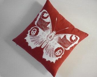 Vintage papillon soie coton filtré toile throw pillow 18 pouces rouge blanc