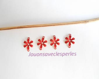x 5 flowers 12 mm red enamelled effect