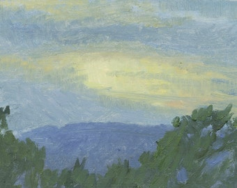 Golden Sunset: Original Oil Painting Plein Air Landscape