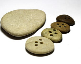 Four Drilled Beach Stone Buttons - Eco Buttons Pebbles - Recycled Buttons - Earth Tone Beads - Genuine Beach Stones - Diy Sewing Notions