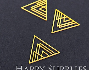 Last - Exclusive - Last Silver/Raw Brass Triangle Geometric Charm / Pendant, Fit For Necklace, Earring, Brooch (RD049 / RD222 / SD222)