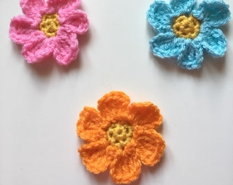 Crochet Flower Badge / Brooch / Pin / Accessory - Pink, Orange or Blue